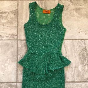 EUC - Green Cocktail Length Dress